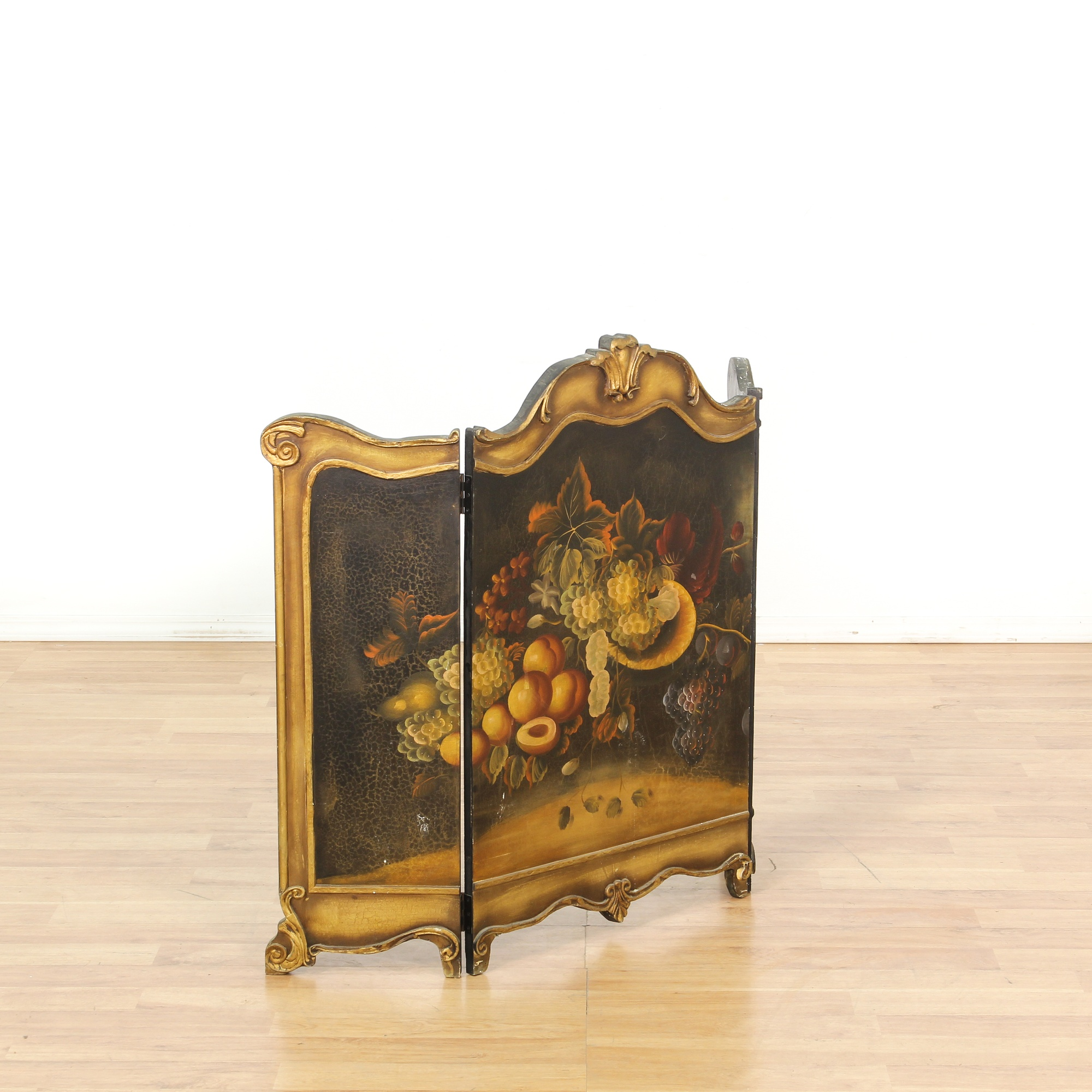Gold Composition Painted Fireplace Screen Loveseat Vintage Furniture San Diego Los Angeles