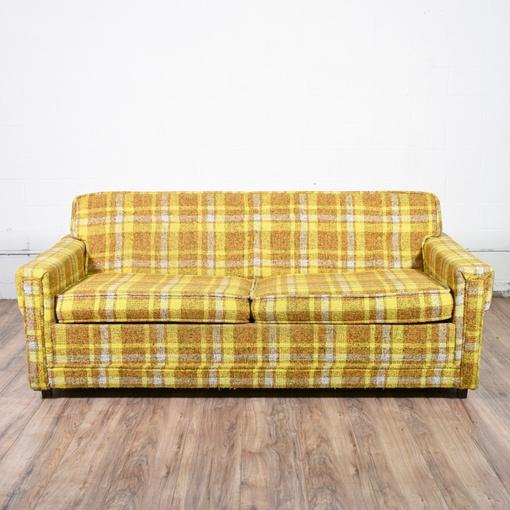 retro mid century modern plaid sleeper sofa loveseat vintage furniture san diego los angeles. Black Bedroom Furniture Sets. Home Design Ideas