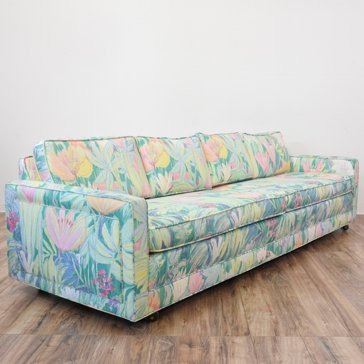 Tropical 80 39 s neon floral sofa loveseat vintage for 80s floral couch