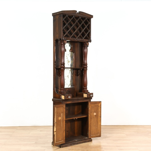 Traditional Wood Tall Wine Cabinet W Storage Loveseat Vintage Furniture Los Angeles