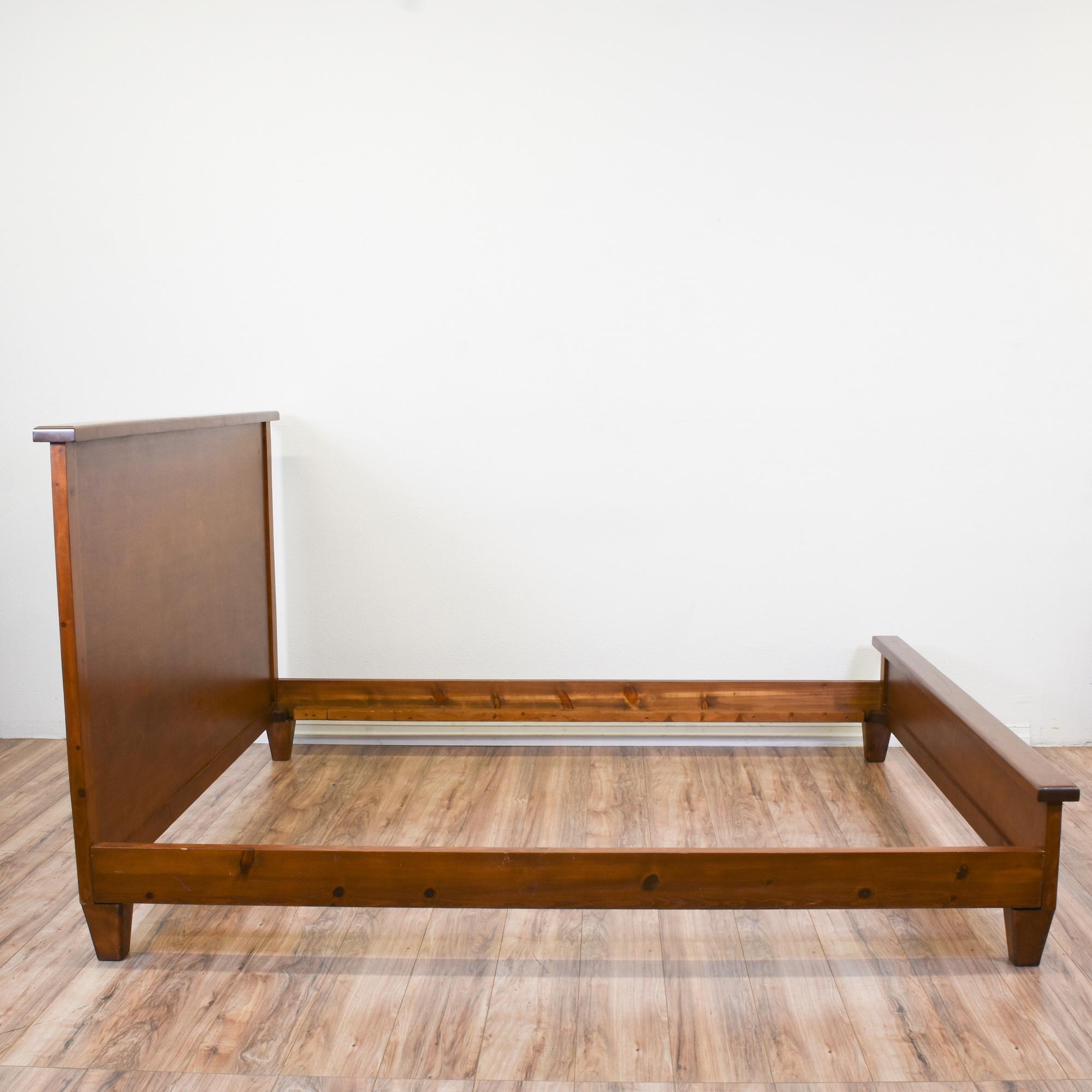 simple walnut cali king sized bed frame loveseat vintage