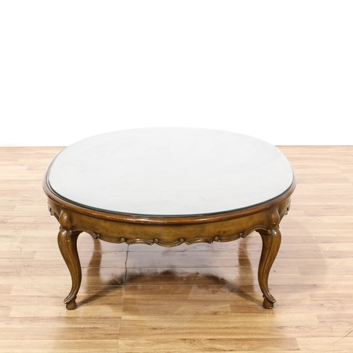 Oval Glass Top Wood Coffee Table Loveseat Vintage Furniture San Diego Los Angeles