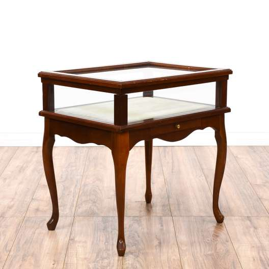 Queen Anne Style Display Case End Table