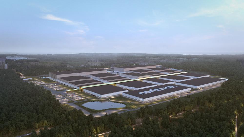 Bygget av Northvolts batterifabrik i Skellefteå.