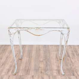 White Metal Glass Top Outdoor Dining Table