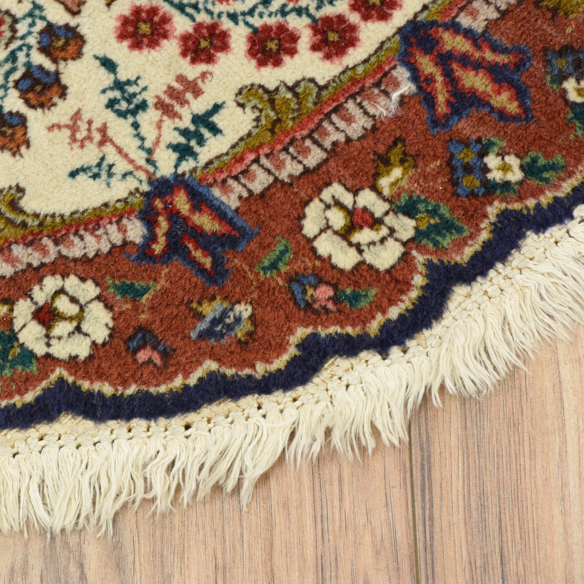 Persian Bohemian Round Fringe Floral Area Rug