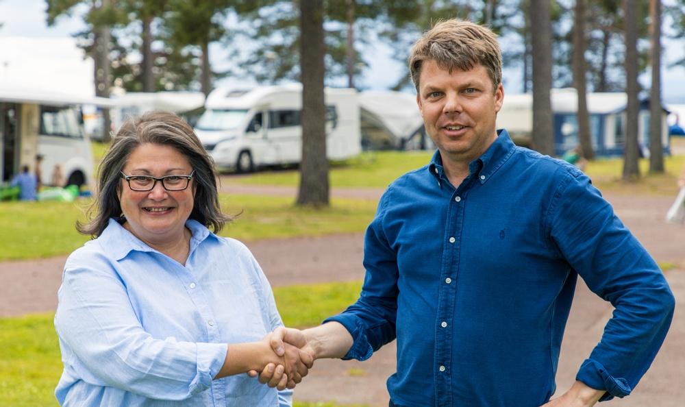 Mari Tara, Grönklittsgruppen, och Johan Söör, United Camping/First Camp.