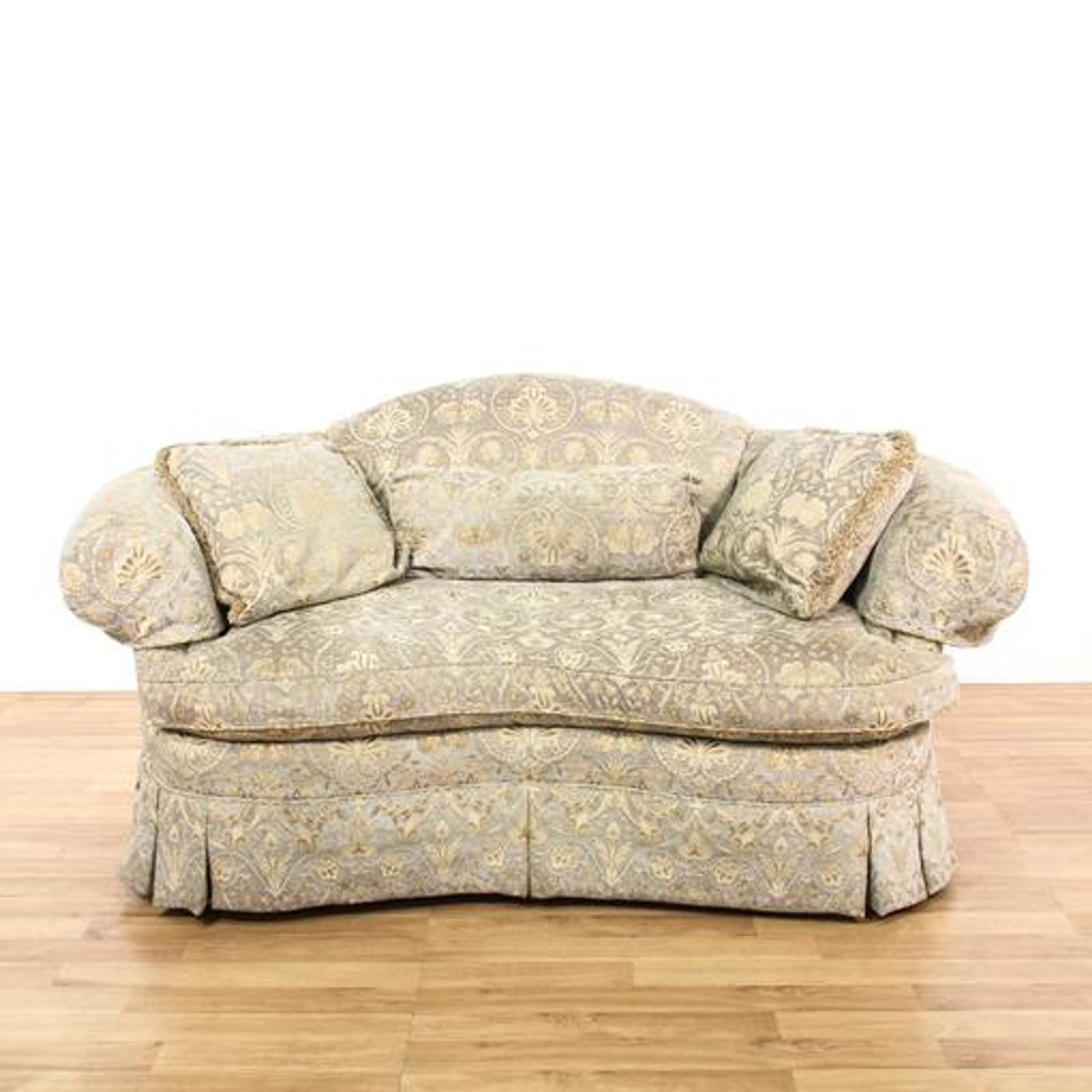 Kidney Shaped Gray Floral Loveseat Sofa 2 Loveseat Vintage Furniture San Diego Los Angeles