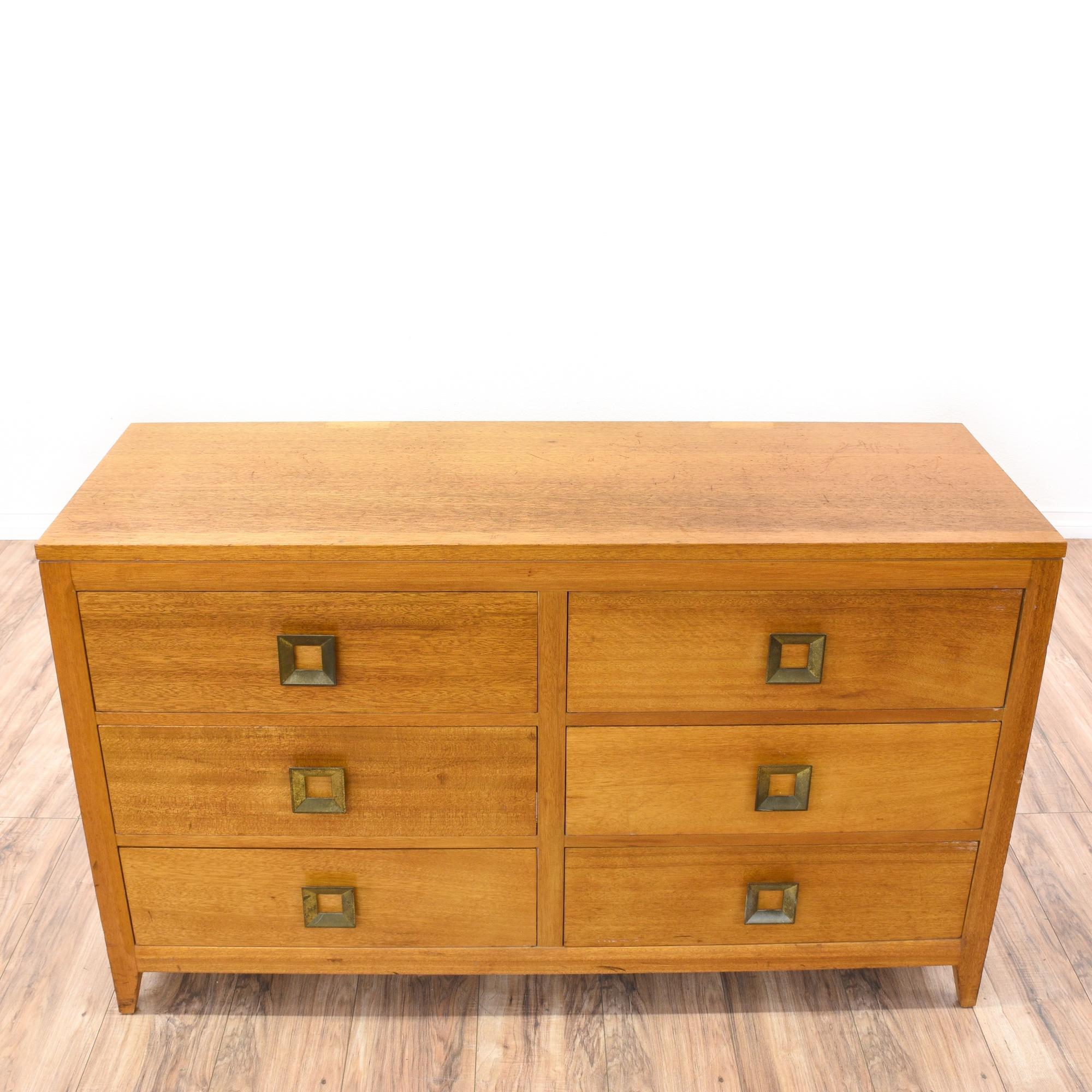 Mid Century Modern Light Cherry Dresser Loveseat Vintage