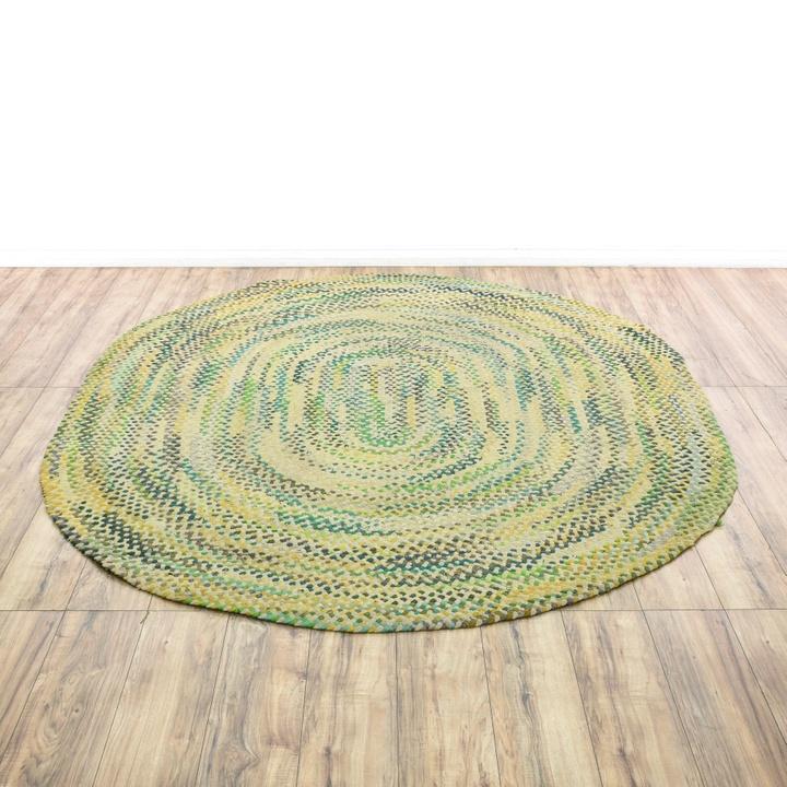 Green, Blue & Brown Print Wool Rug