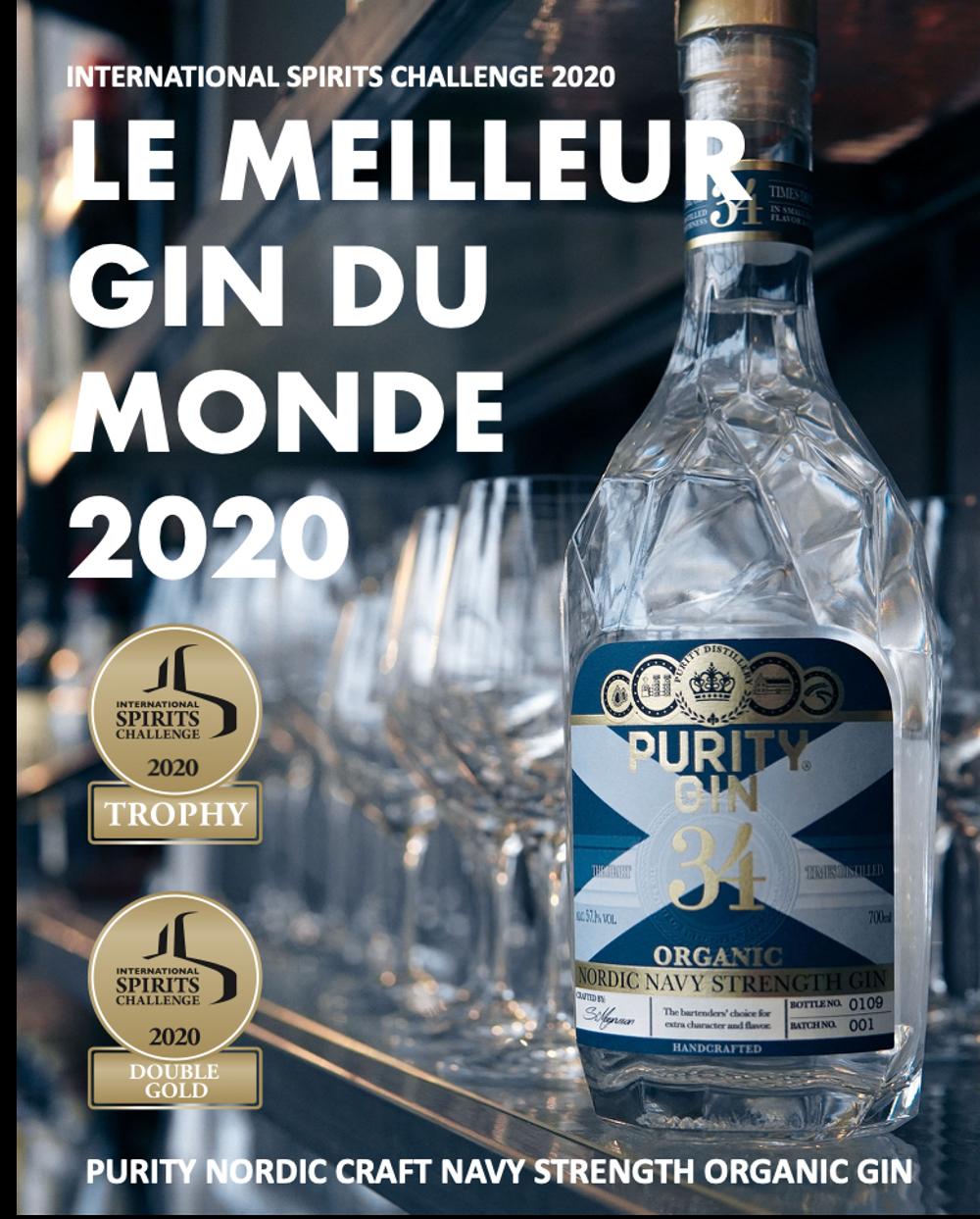 Le meilleur gin du monde - PURITY NORDIC CRAFT NAVY STRENGTH ORGANIC GIN