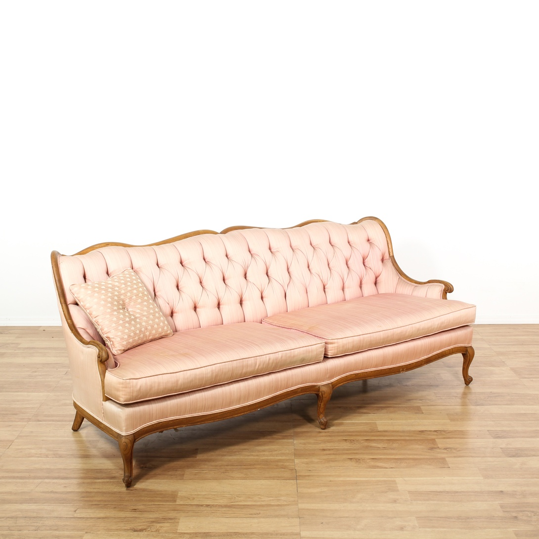 French Pink Tufted Sofa Settee Loveseat Vintage