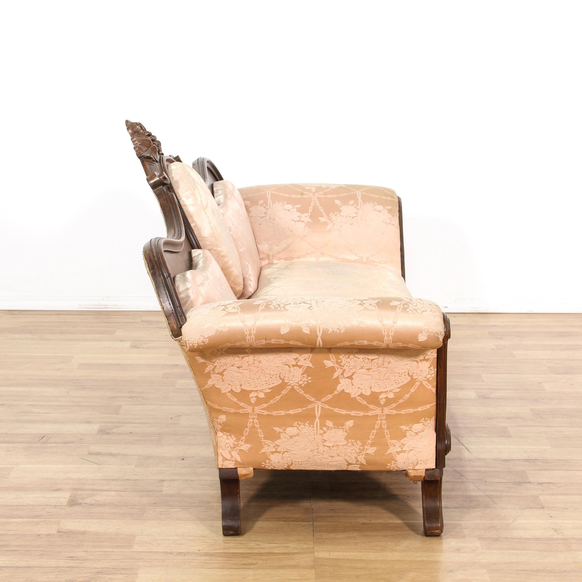 Victorian Blush Settee Sofa W Wood Frame Loveseat