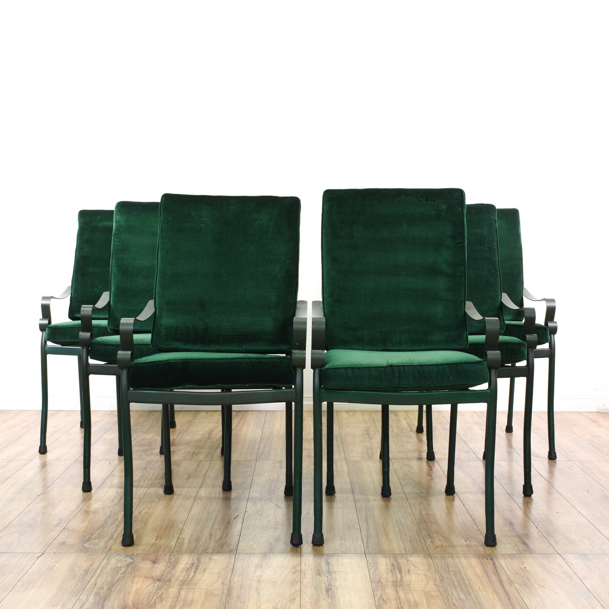 Set Of 6 Green Velvet Metal Patio Dining Chairs Loveseat