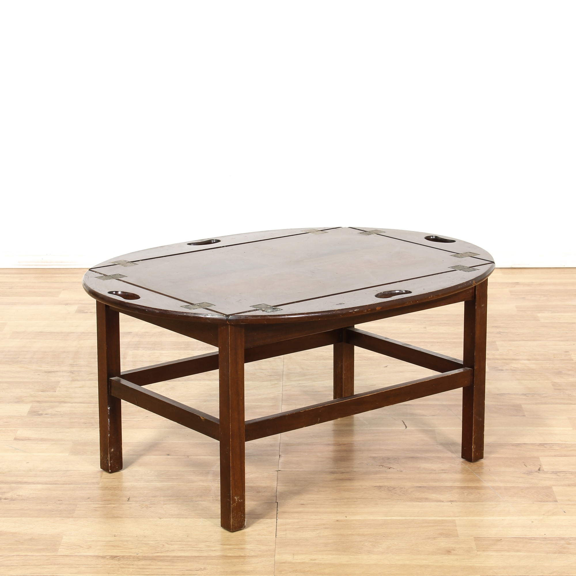 Oval Wooden Coffee Table With Shelf: Oval Hinged Sides Wooden Coffee Table