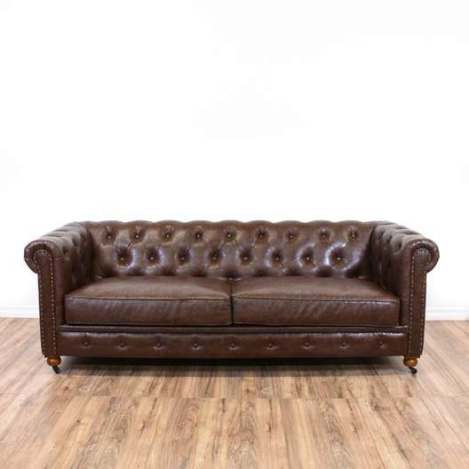 Chesterfield Brown Faux Leather Tufted Sofa