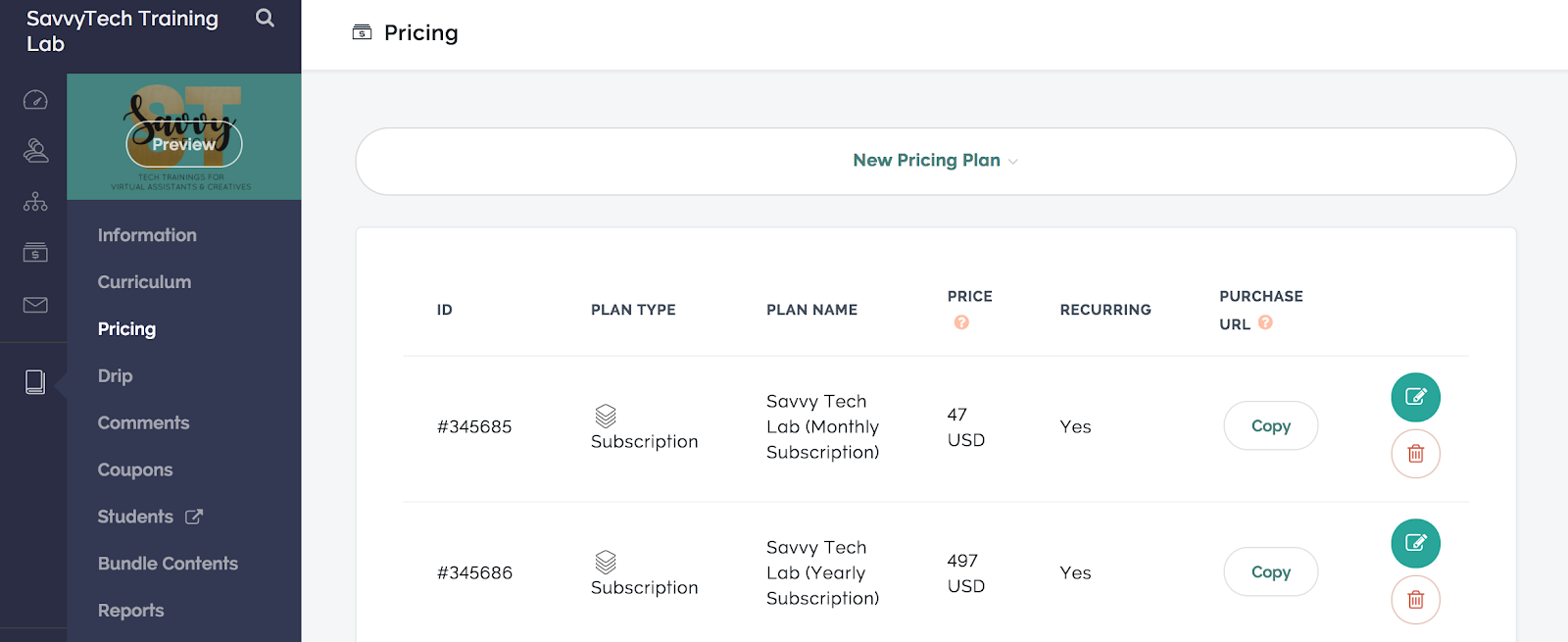 The Teachable pricing plan