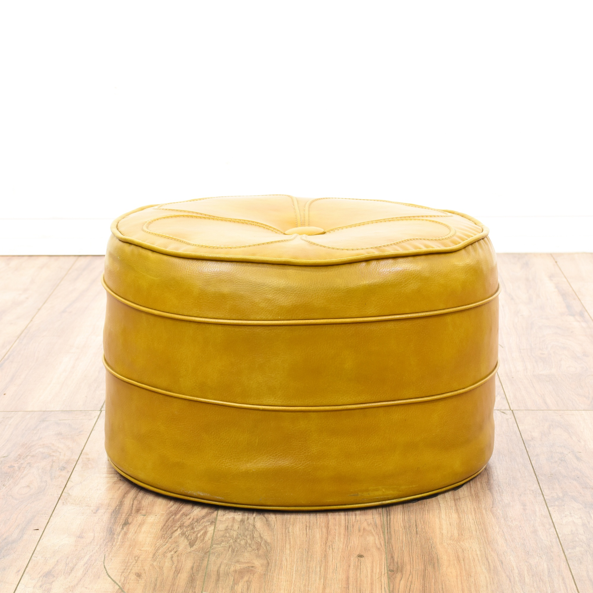 Mustard Yellow Vinyl Upholstered Ottoman Hassock | Loveseat Vintage  Furniture San Diego