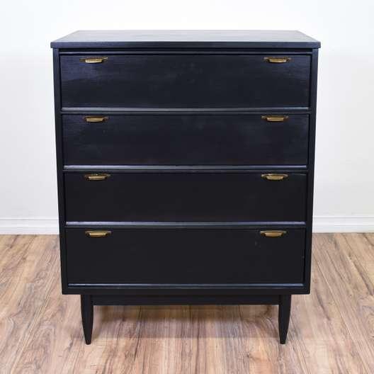 Black Mid Century Modern 4 Drawer Dresser