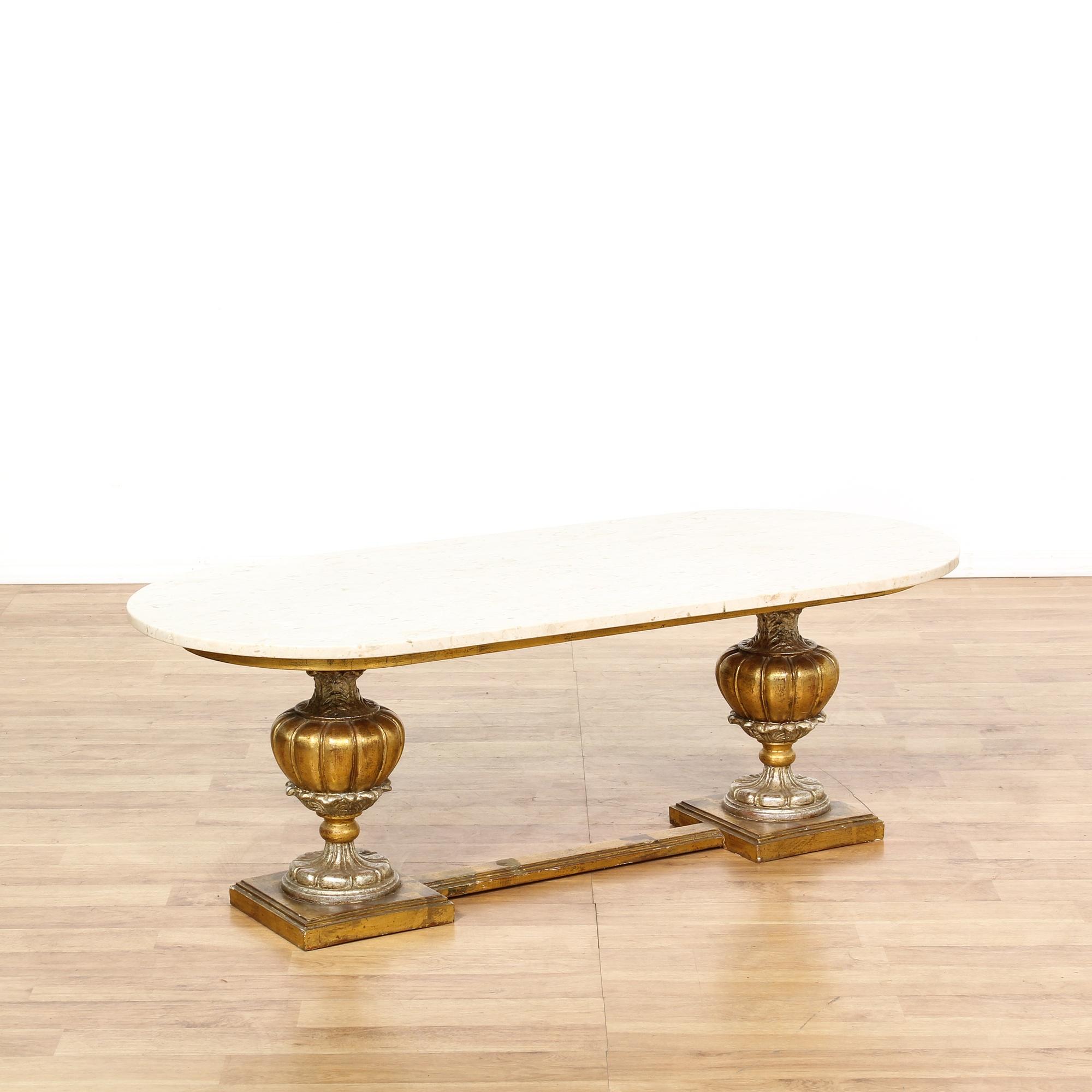 Marble Top Coffee Table Brass Legs: Italian Marble Brass Base Coffee Table
