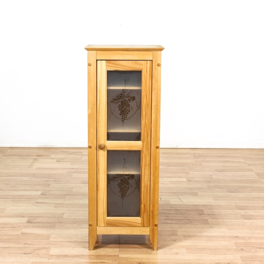 Skinny Kitchen Cabinet W/ Glass Door & Grape Motif