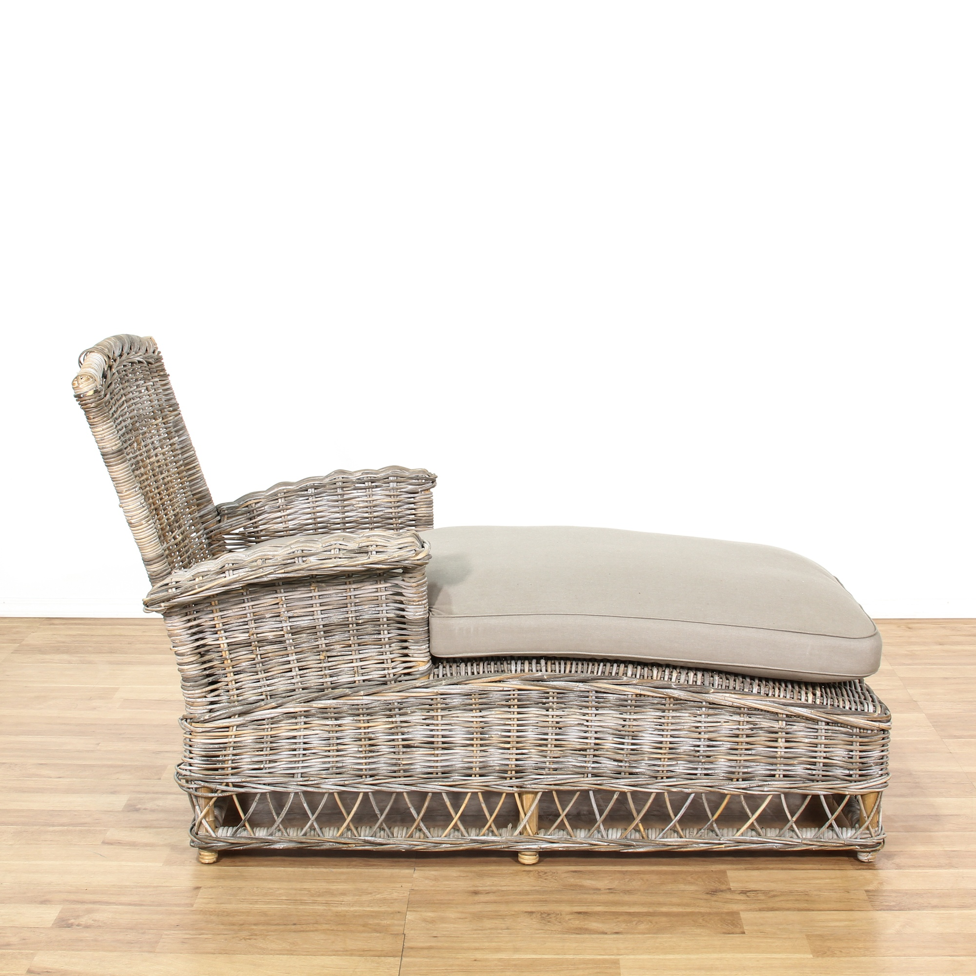 Driftwood Wicker Outdoor Patio Chaise Lounge Loveseat