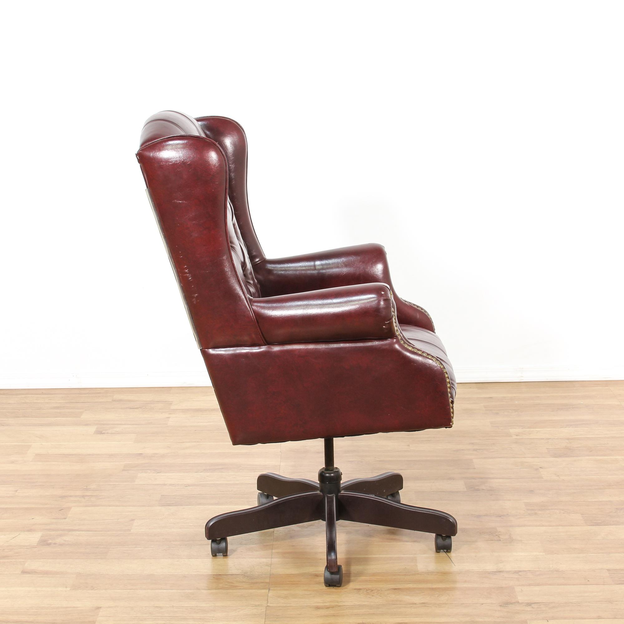 Purple Leather Tufted Executive Chair Loveseat Vintage