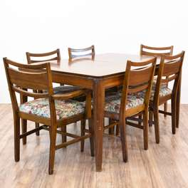 Cherry Mid Century Modern Dining Set w/ 6 Chairs