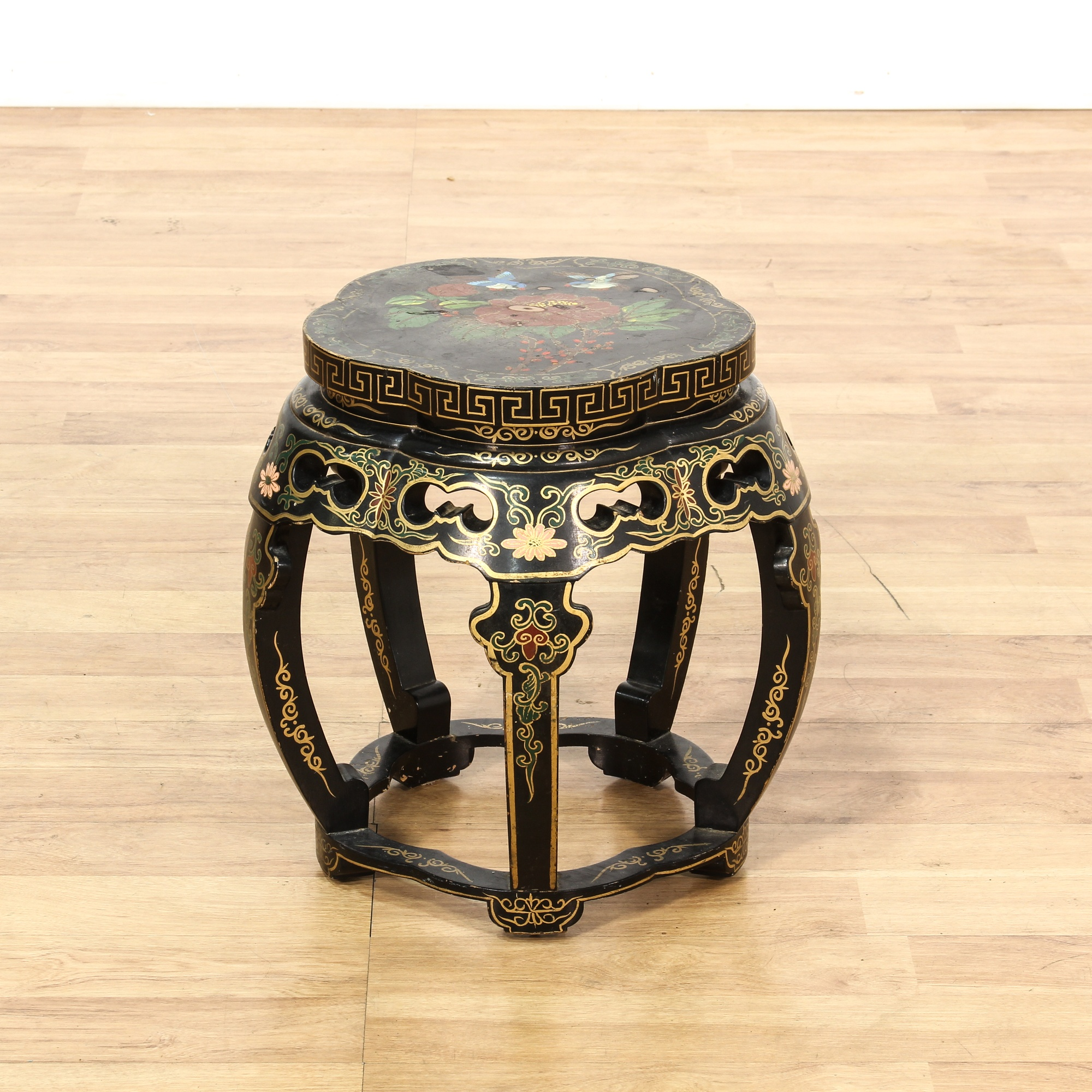 Asian Black Lacquered Floral Painted Drum Stool Loveseat