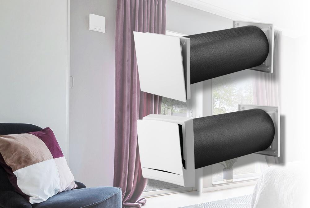 Fresh bullerdämpande ventil i ett sovrum.