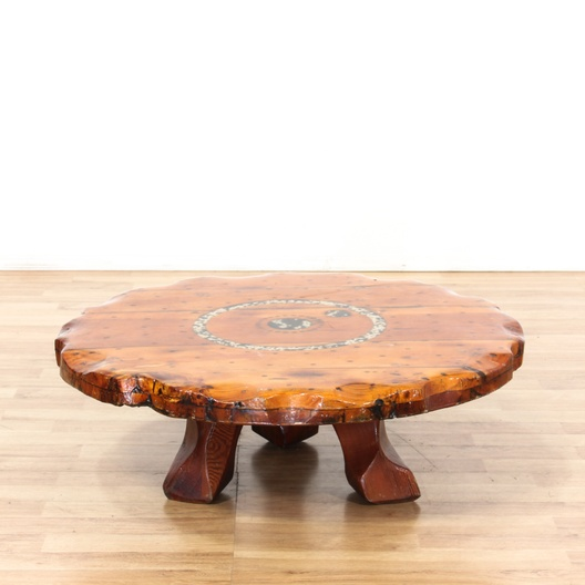 Thick Round Wooden Coffee Table W/ Acrylic Top