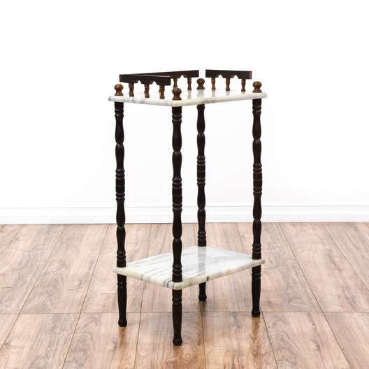 Marble Top Tiered Cherry End Table