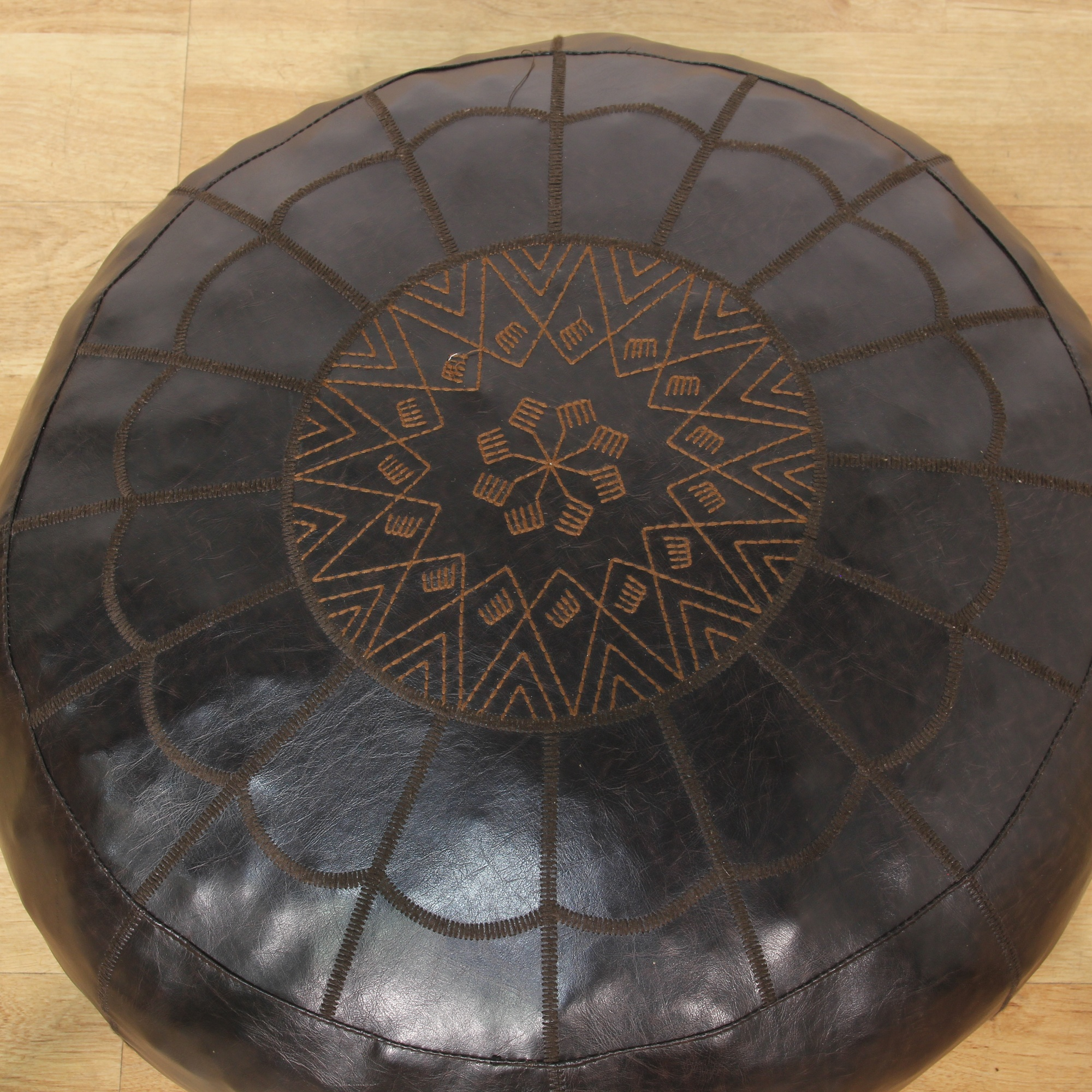 Moroccan Black Leather Upholstered Round Pouf Loveseat