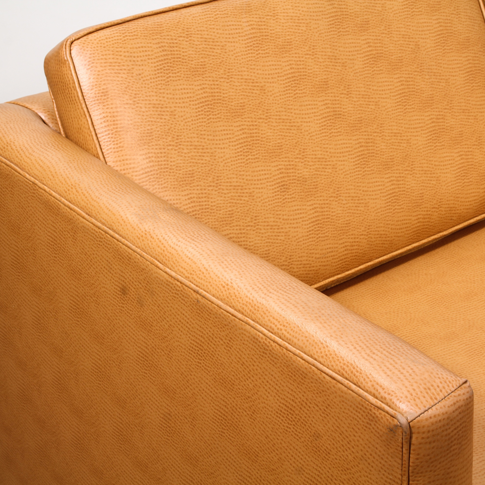 Modern Tan Vinyl Upholstered Loveseat Sofa 2 Loveseat Vintage Furniture San Diego Los Angeles