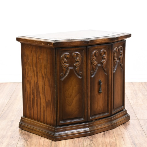 Foyer Console Cabinet : Carved oak console foyer cabinet loveseat vintage