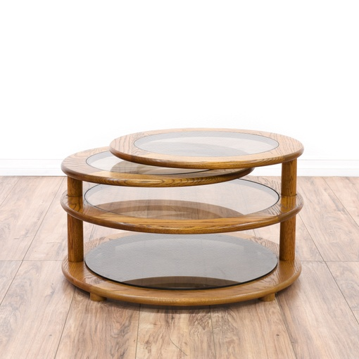 Glass & Oak Round Swivel Coffee Table