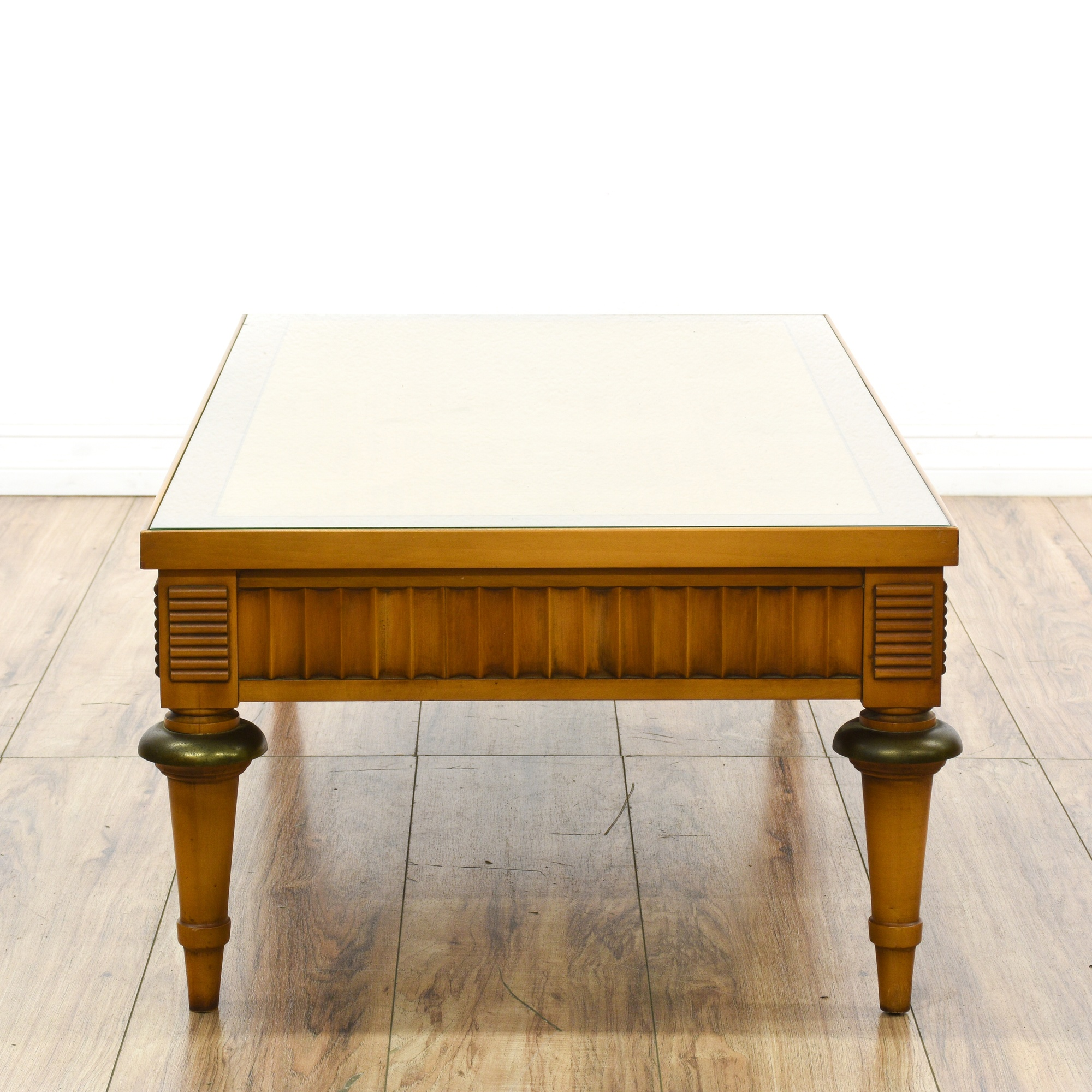 """""""Lane"""" Glass Parquet Top Fluted Coffee Table"""