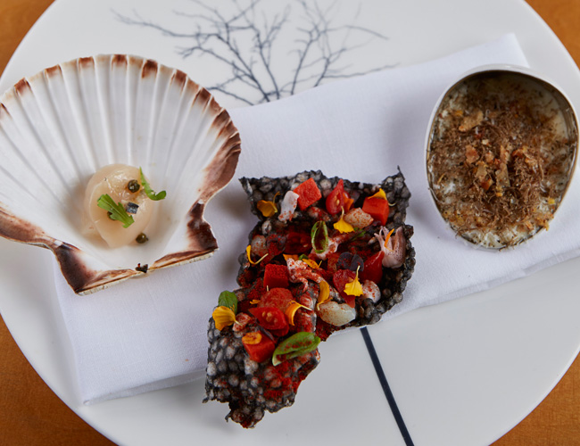 Scallop, cracker and soup by Aiden Byrne at Manchester House