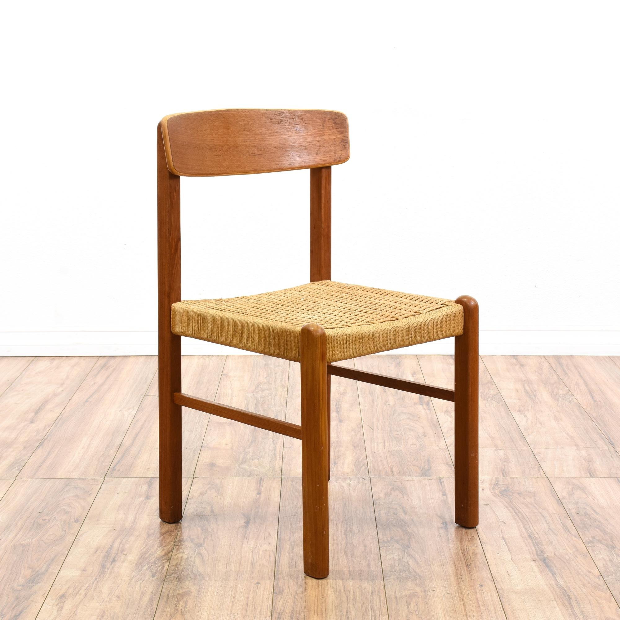 Set of 6 danish modern teak dining chairs loveseat for Danish modern la