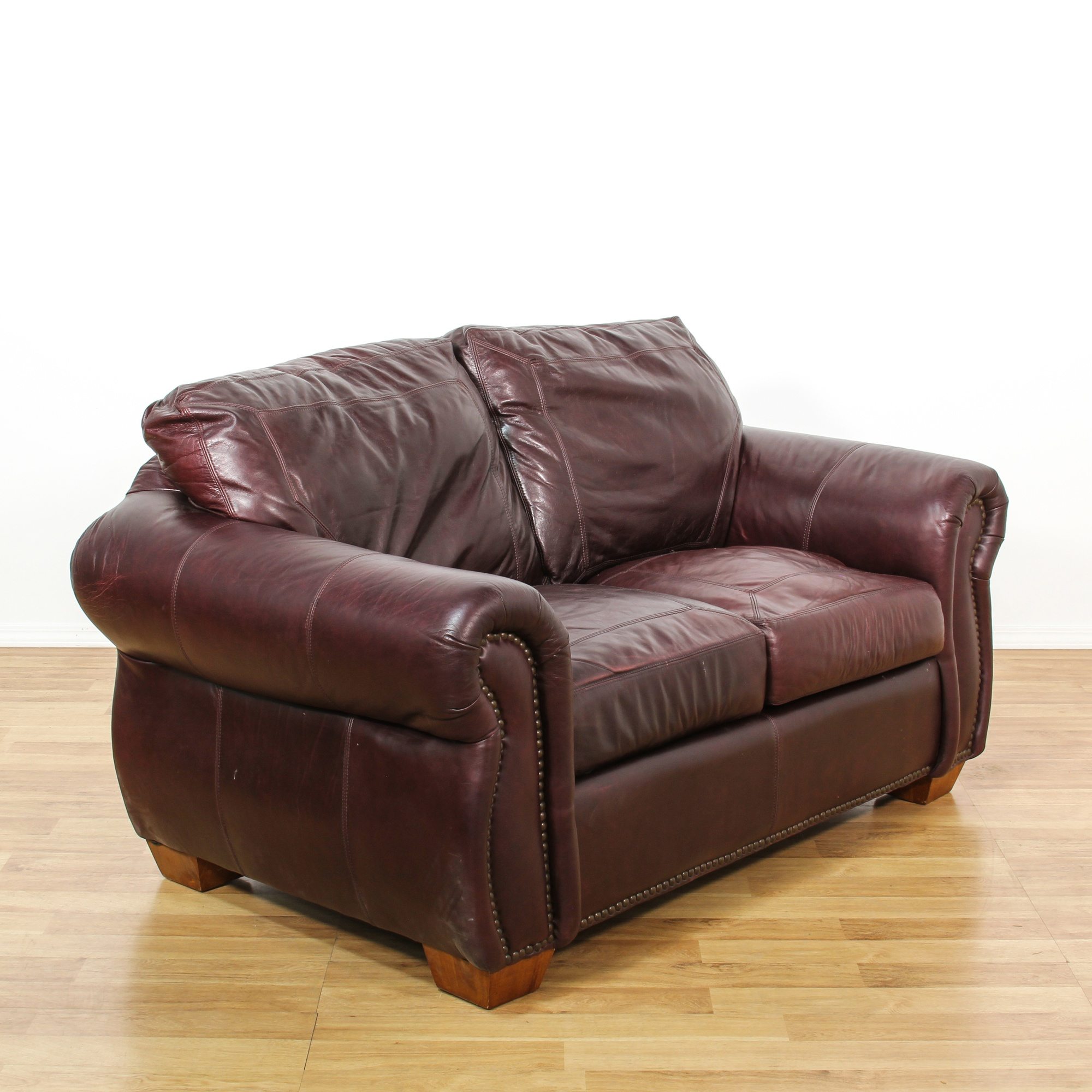 Brown Leather Upholstered Sofa Loveseat
