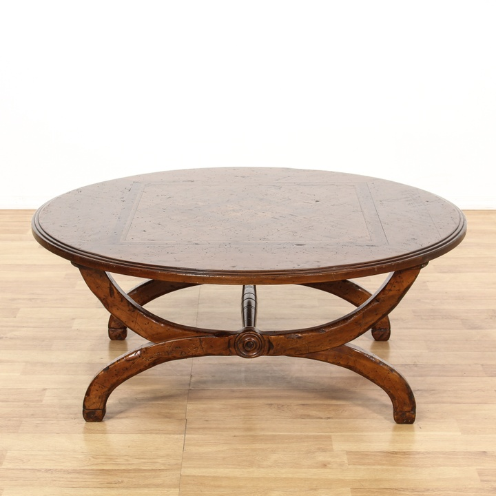 Round Italian Marquetry Inlaid Coffee Table