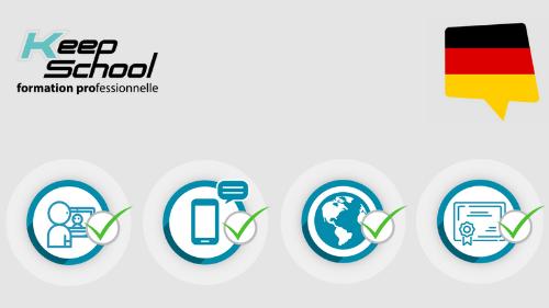 Représentation de la formation : Allemand : Certification PIPPLET FLEX - cours particuliers visio (20h) + immersion en Allemagne en école (22h) + e-learning