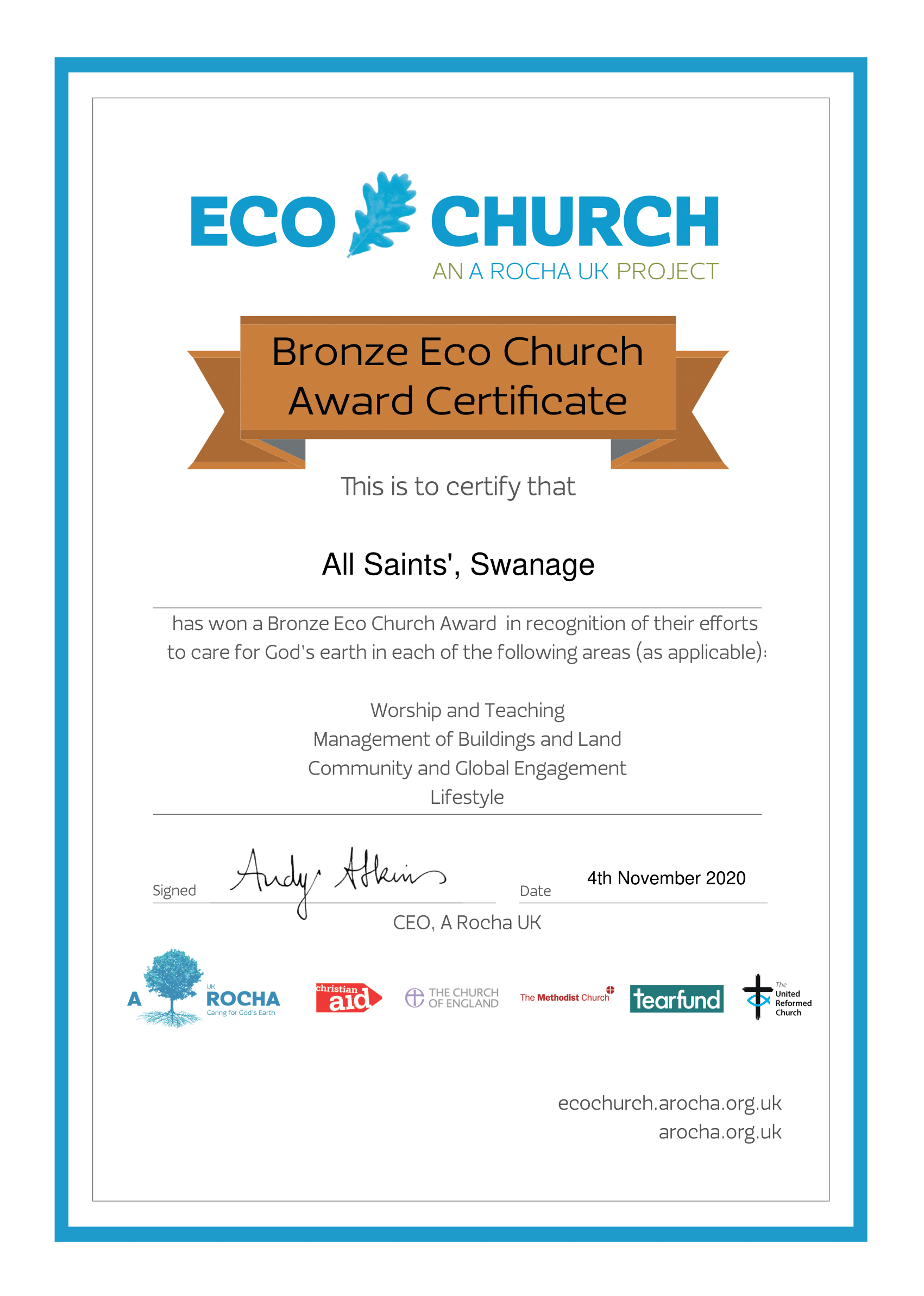 Eco Church Award Certificate Bronze   All Saints', Swanage-png.png
