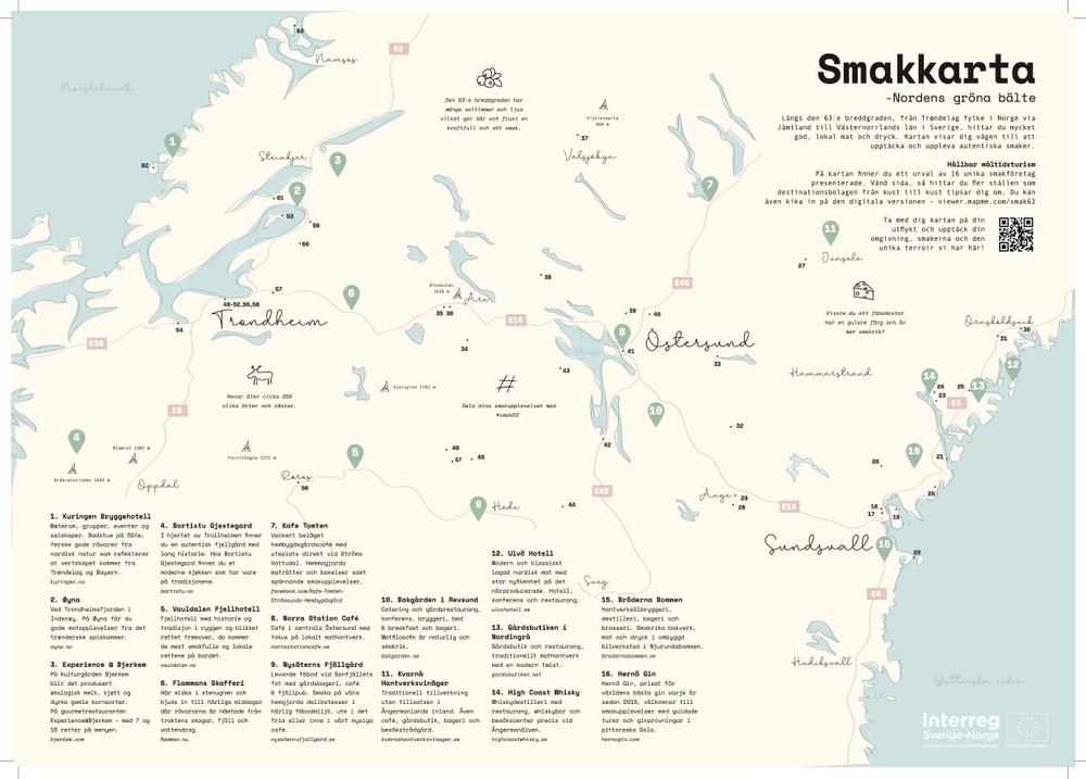 Smakkarta med 63 tips för mat- och dryckesupplevelser längs Nordens gröna bälte