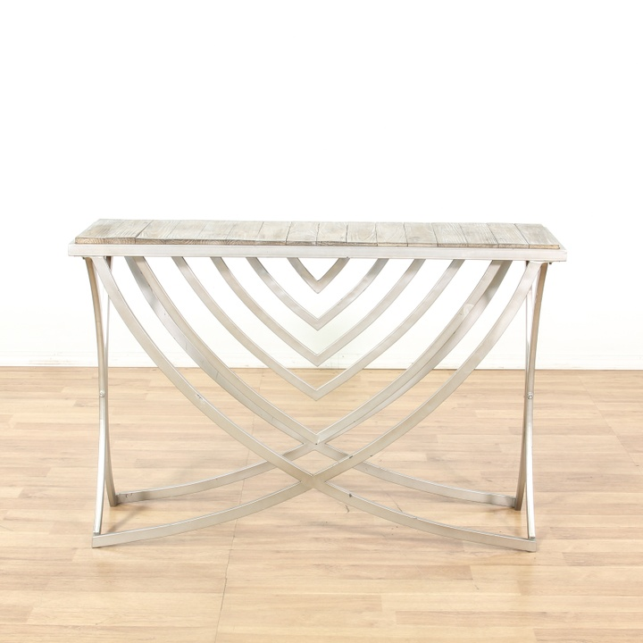 Modern metal base reclaimed wood top console table for Buy reclaimed wood los angeles