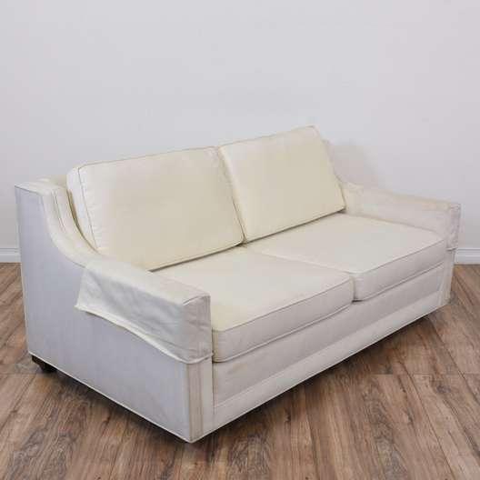 Simple White Upholstered Loveseat Sofa