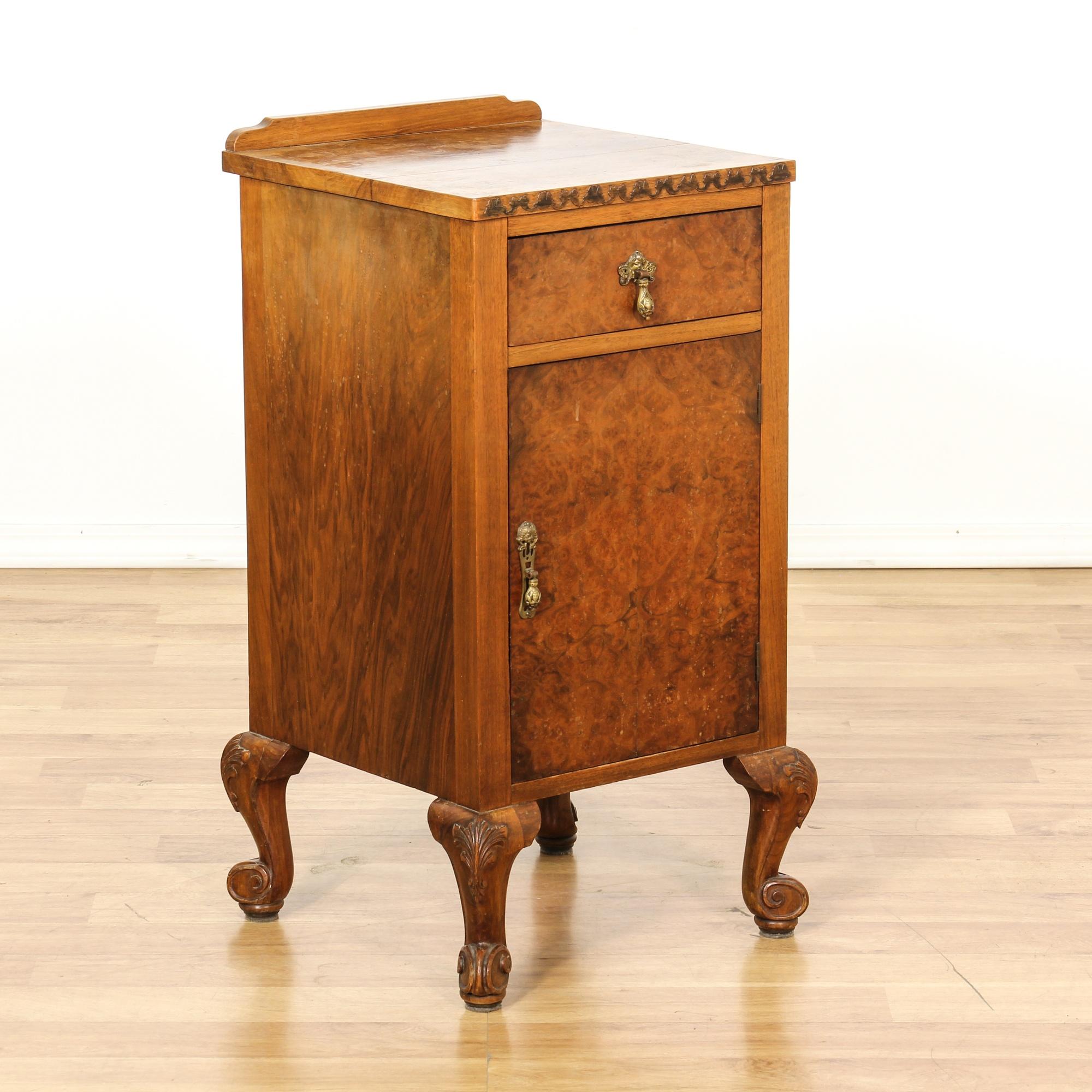 Antique burl wood end table cabinet loveseat vintage
