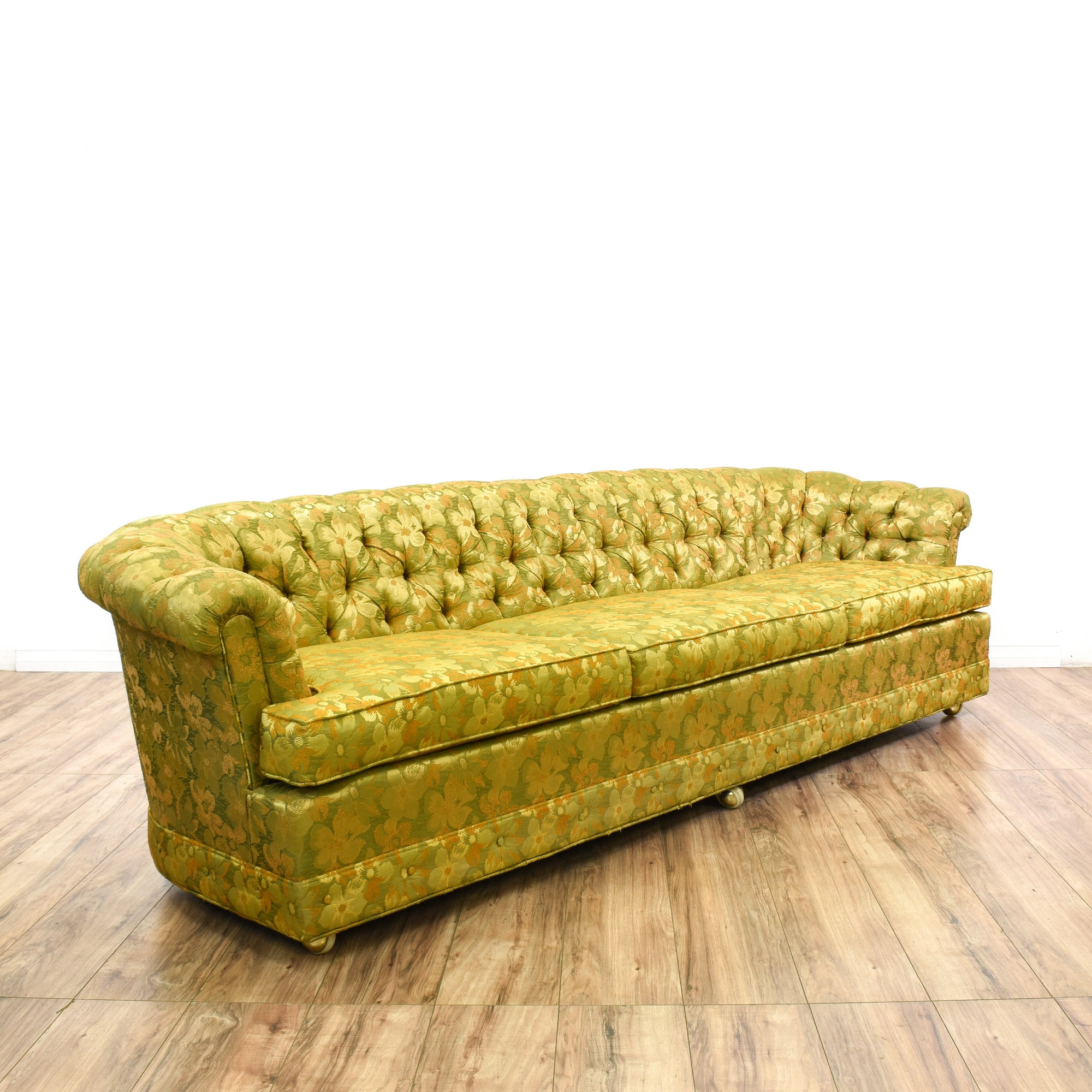 Yellow Green Floral Tufted Chesterfield Sofa Loveseat Vintage Furniture San Diego Los Angeles