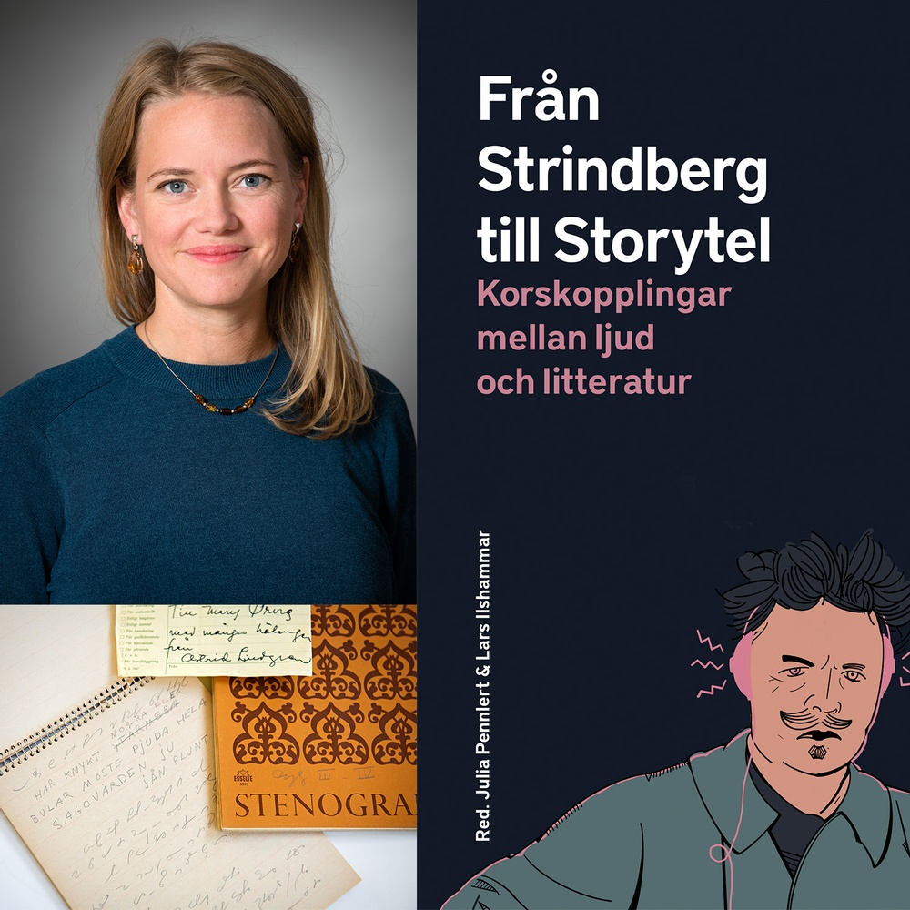 Omslag till Från Strindberg till Daidalos. Bild på Malin Nauwerck (Eva Dalin) och Astrid Lindgrens stenogramblock.