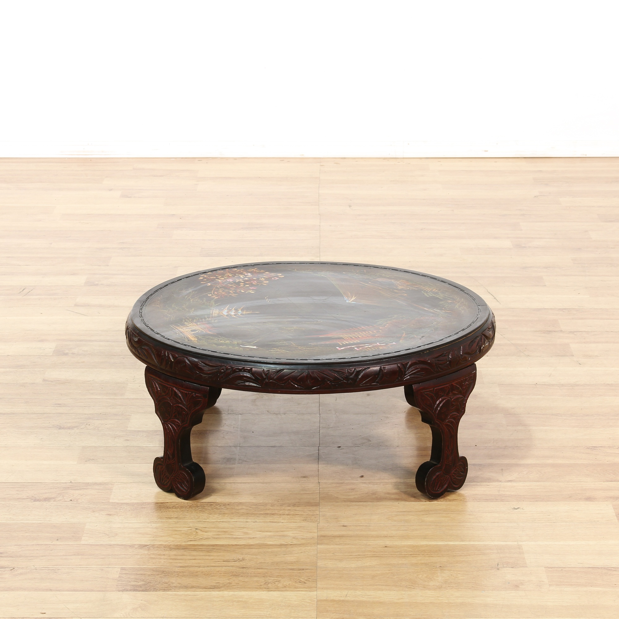 Asian round carved coffee table loveseat vintage for Oriental furniture los angeles